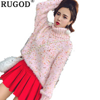 RUGOD Fashion Turtleneck Women Sweaters Long Sleeve Dot Knitted Women Pullovers 2019 Thick Warm Winter Clothes pull femme hiver