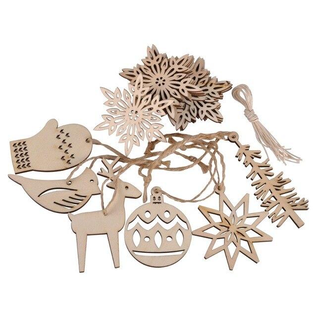 16pcs wooden craft strings hanging set xmas christmas tree ornament 16pcs wooden craft strings hanging set xmas christmas tree ornament wedding decorations diy snowflakes gift tag junglespirit Images