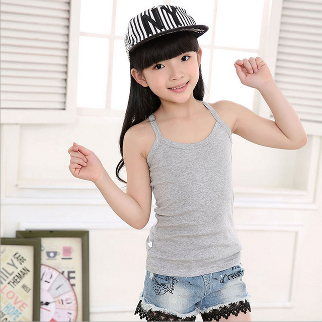 24d1186103e4 Children Girls camisole 100% cotton vest child underwear solid candy color  young girl tank tops kids vest clothing Undershirt