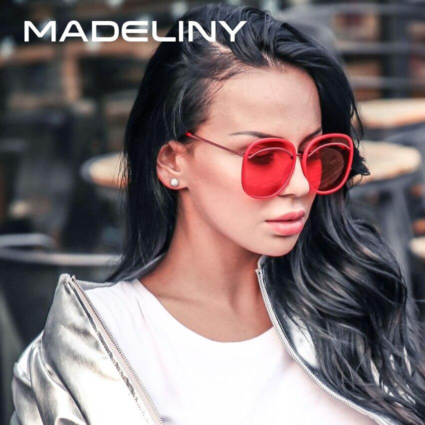 b722bda746 Madeliny nuevas mujeres oversized cuadrado gafas de sol diseño de marca  metal marco 2018 moda verano gafas de sol sombras MA082