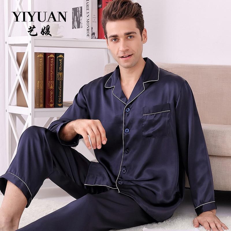 YIYUAN Brand Men Silk Pajamas 2019 NEW Long Sleeved Pajama Pants Sets High Quality 100% Mulberry Silk Pyjama Lounge Set M8805