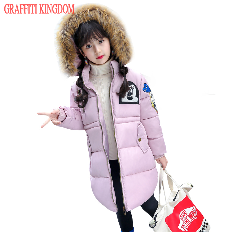 New Arrival 2017 girls winter coat warm thick children clothing long parka baby girls down coat quilted jacket brand boutique