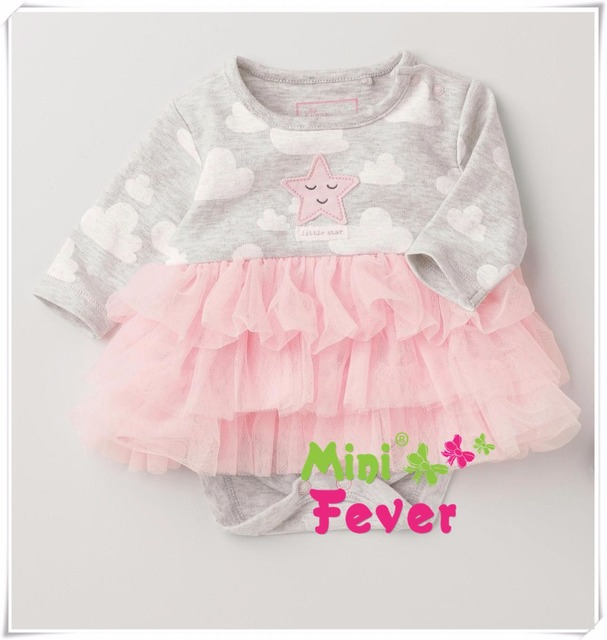 HOT pink lace girls bodysuits starfish clouds print long sleeve princess dress yarn baby costume newborn & HOT pink lace girls bodysuits starfish clouds print long sleeve ...