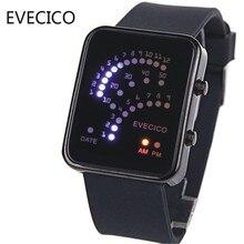 Fanghaped Evecico старинные моды светодиодные часы электронные часы водонепроницаемые спортивные любителей желе стол стол тенденция