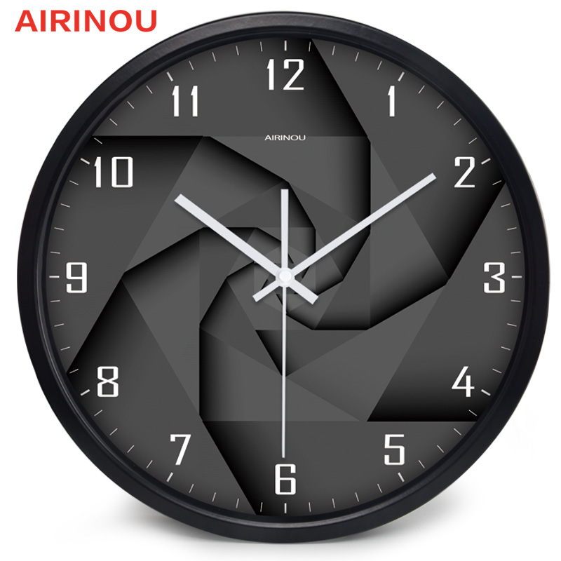 Airinou 3D Вихревой Стиль современные стеклянные и металлические настенные часы библиотека Музей науки или компании