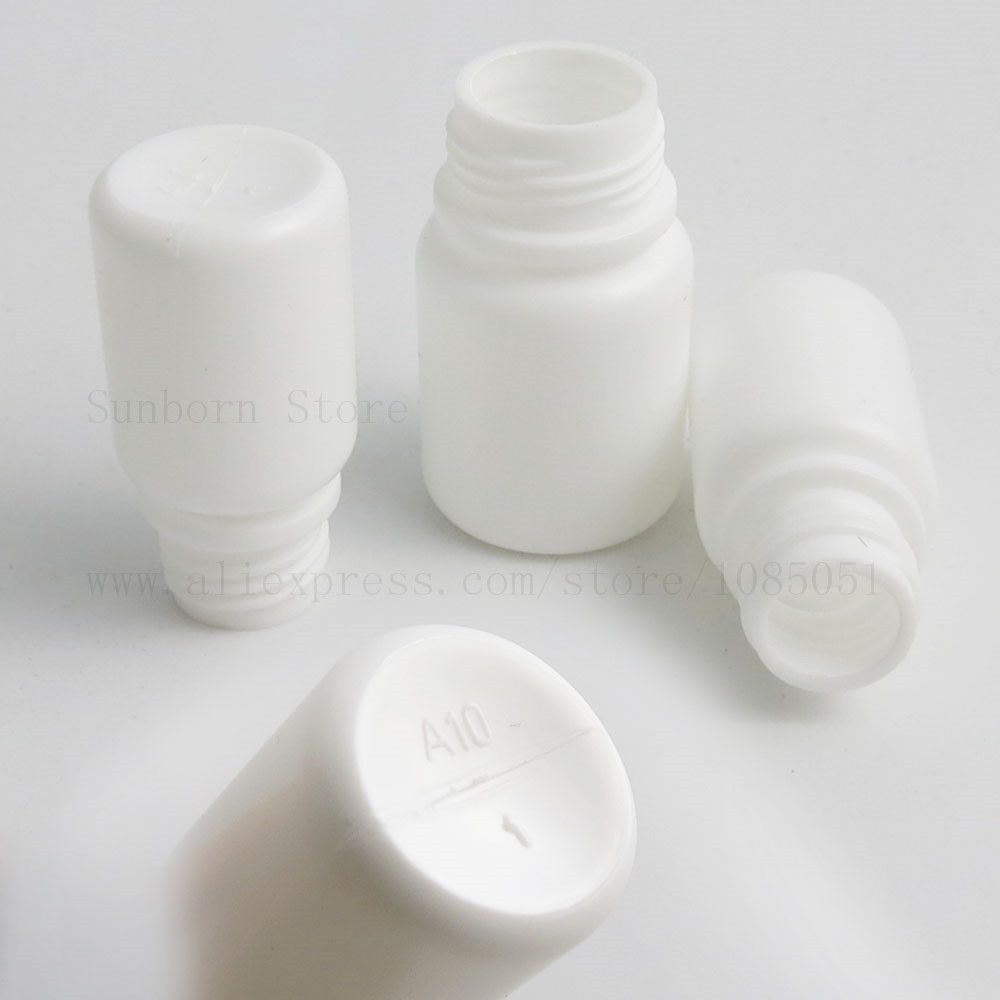 Купить с кэшбэком 100pcs plastic bottle with screw cap empty bottles pills medical capsule container 10ml/15ml White Color