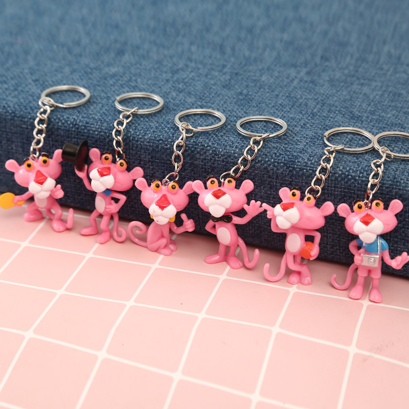 Cute Pink Panther Key Chain Cartoon Key Ring Gift For Women Girls Bag Pendant PVC Figure Charms Key Chains Jewelry Porte Clef