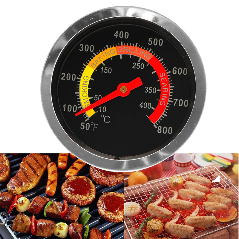 Stainless Steel BBQ Smoker Grill Thermometer Temperature Gauge 50-800 Degrees Fahrenheit 10-400 Degrees Celsius