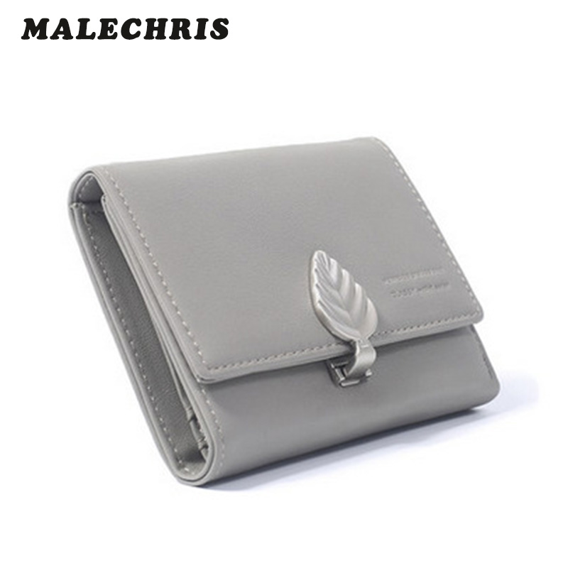 2017 new Leaf Hasp Lady Holding Bag  Women  Wallet High Quality PU Pure Color Girl Short Wallet geox полусапоги