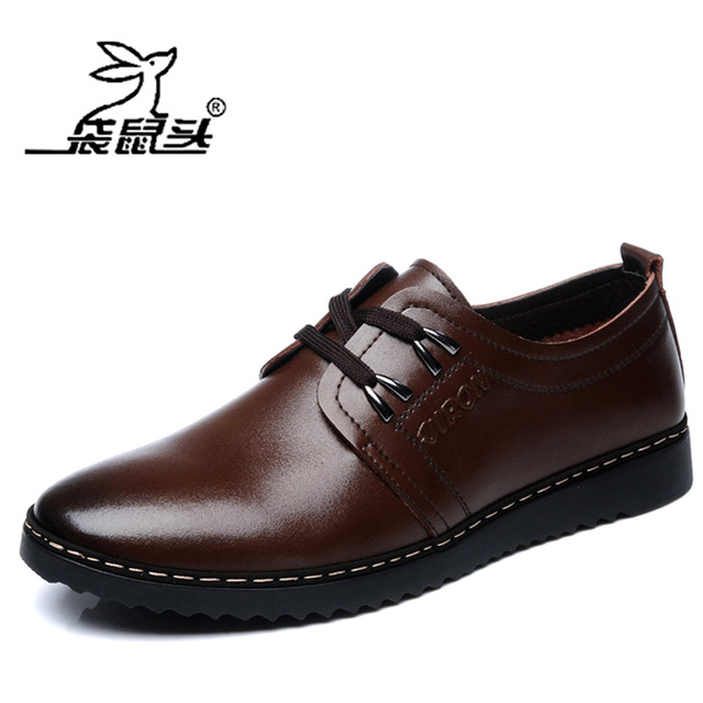Kangaroo fashion business casual male shoes spring and autumn soft leather lacing male spring genuine leather black