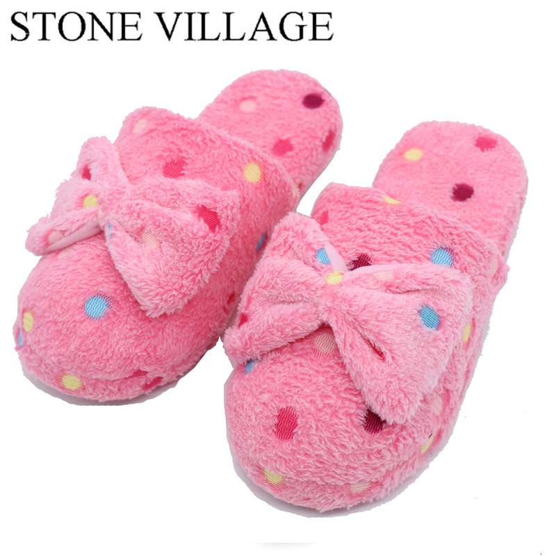 Home slippers Factory Direct Pantufas Large Bow Love Slippers Women Winter Warm Cotton Fabric Slippers Indoor Home Floor Shoes