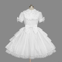 Customized 2018 Sweet Lolita OP Dresses Short Sleeve White Cotton Lace Ruffles Cosplay Costume For Girl