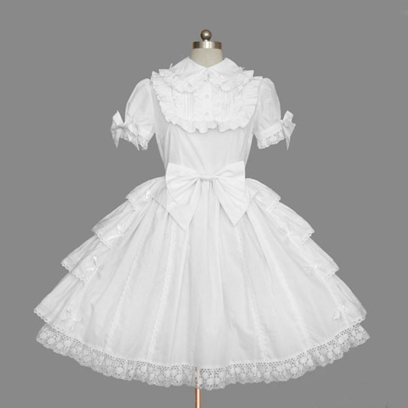 Personnalisé 2018 doux Lolita OP robes à manches courtes blanc coton dentelle volants Cosplay Costume pour fille