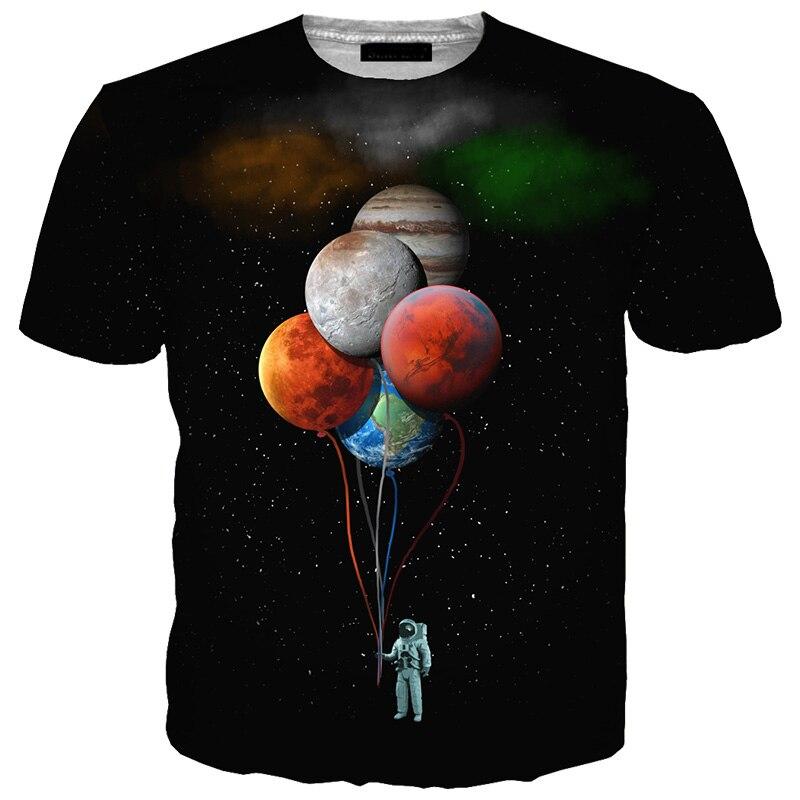 Cloudstyle 2018 3D Tshirt Men Space Astronaut Planet Balloon 3D Print Tees Shirt Short Sleeve Casual Fashion Tops Plus Size 5XL
