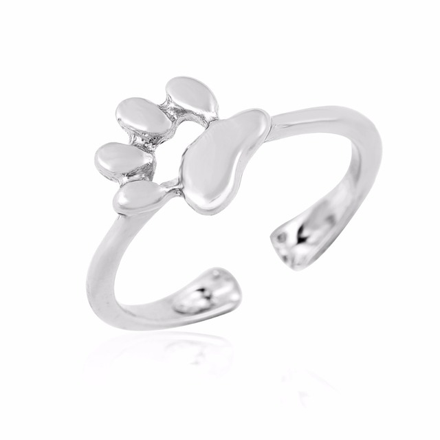 Oly2u New Fashion Animal Jewelry Cat Paw rings for women Open Dog paw ring femal