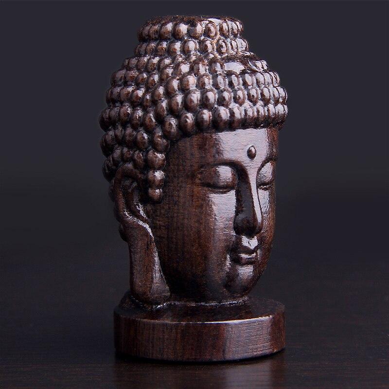 Chinese Wood Carved Shakyamuni Amitabha Buddha Tathagata Head Statue 6cm