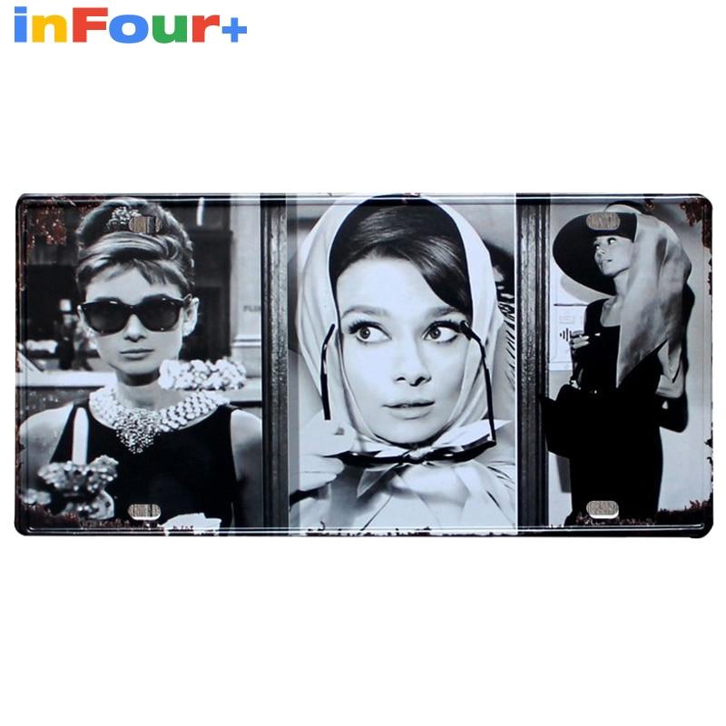 [ Audrey Hepburn ] 30*15cm Car License Plate Vintage Home