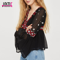 Jastie Boho Hippie Chic Ethnic Embroidery Coat Long Sleeve Shirt Female Blusa Top 2018 Spring Women