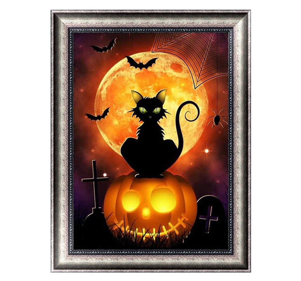 30*40 см Хэллоуин тема Черный кот в лунную ночь 5D Безрамное полный искусственный