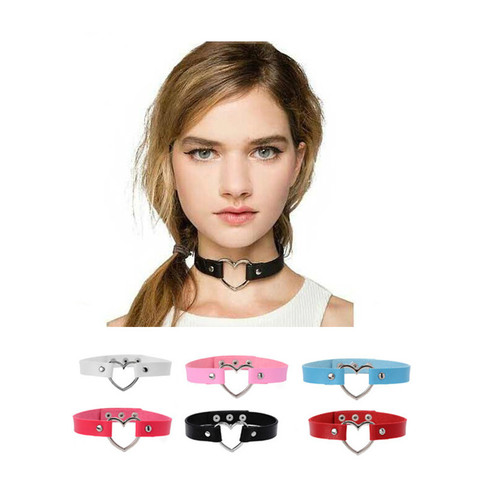 Charm female PU choker Stainless Steel Heart Chokers Necklaces Colorful Leather Buckle Belt Jewelry for Women Men maxi colar Pakistan