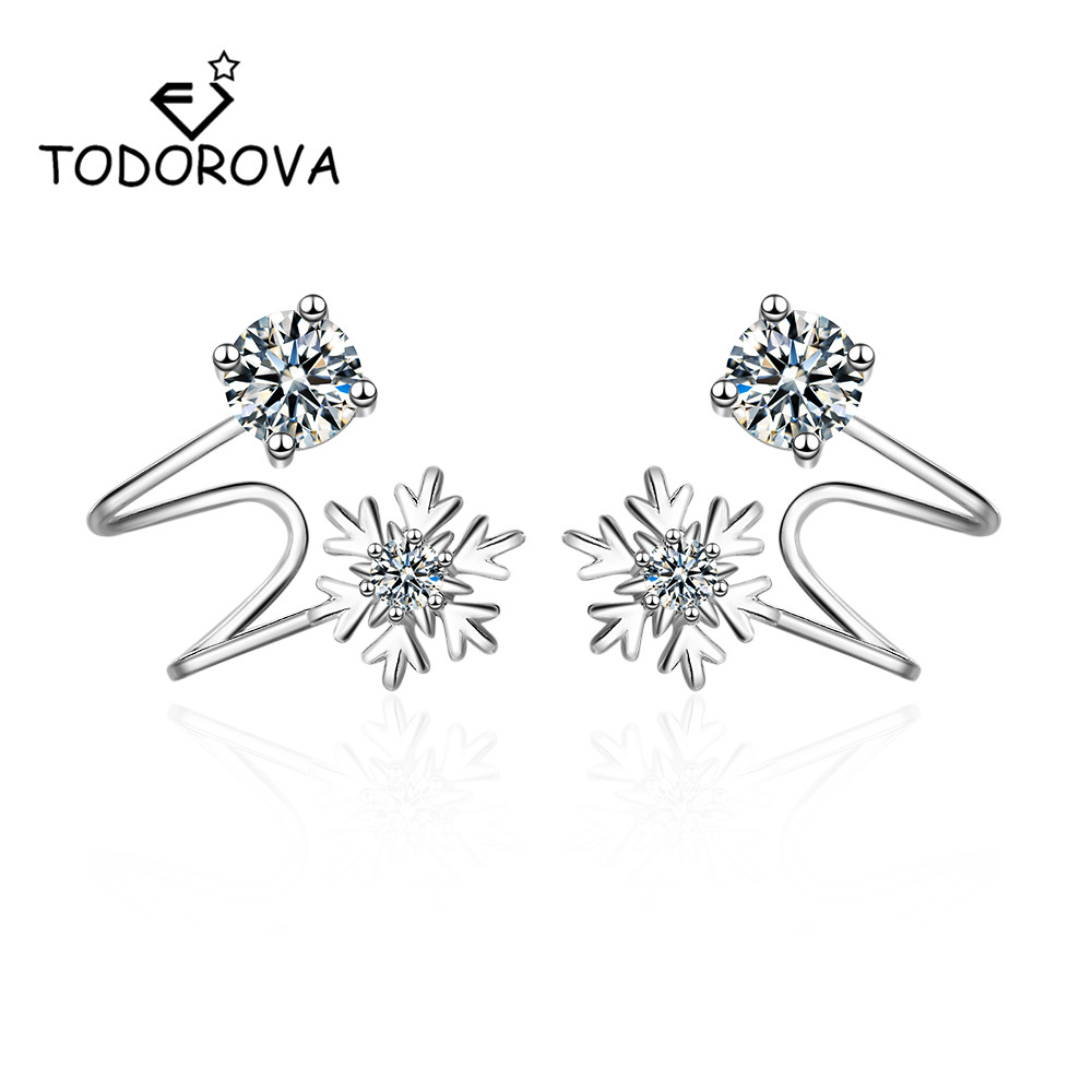 Todorova Cubic Zirconia Snowflake Clip on Earrings Without Piercing Charm Jewelry for Women Girls No Ear Hole Earring
