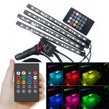 4Pcs Led RGB Strip light Indoor 12smd 9smd-led Car Atmosphere Lamp 12V Colorful Remote control lamp