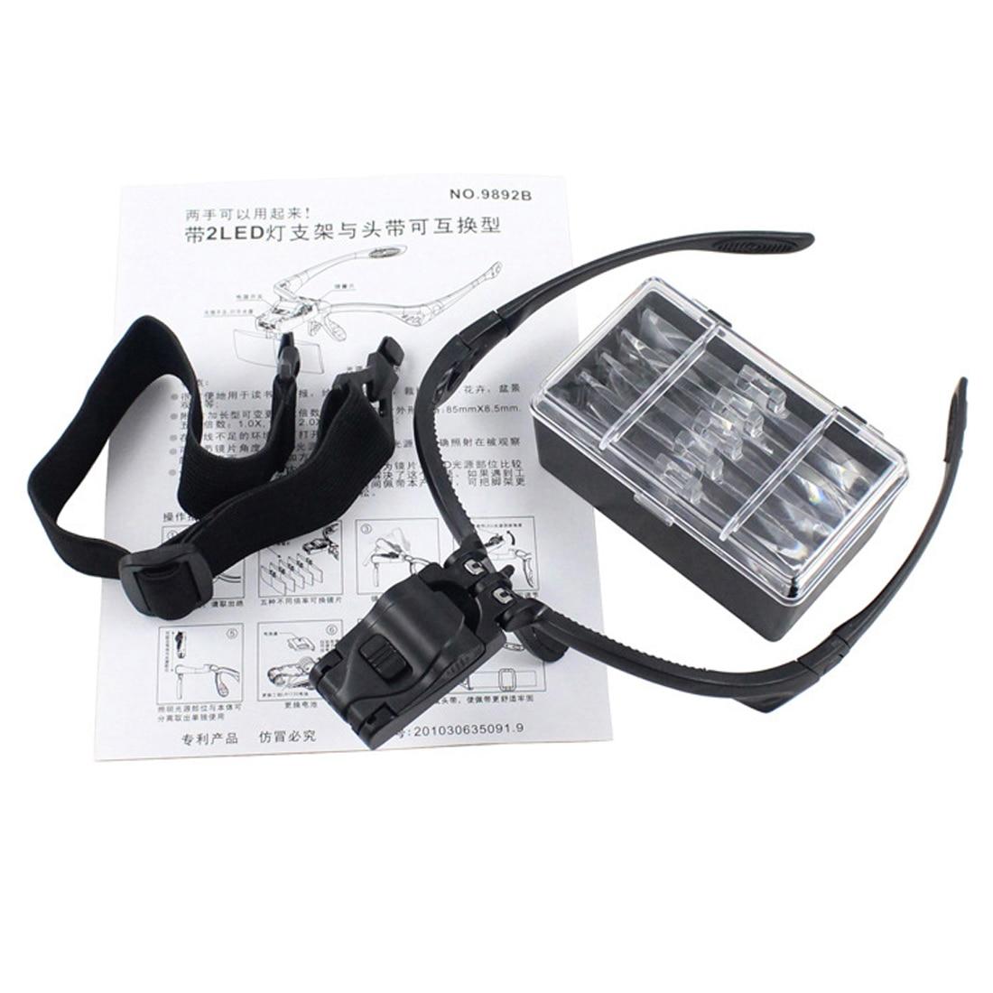 Hohe 1 stücke Stirnband Lupe Augen Reparatur Lupe 2 LED-Licht 1,0/1,5/2,0/2,5/3,5X5 STÜCK Glas-lupe Optische Linse