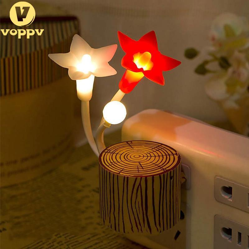 VOPPV Novelty Motion Sensor Night Light Flower Led Home Decoration Lamps Bedside Nightlight Kids Gift Baby Light EOP8292