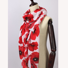 Poppy flower Print Scarf Wrap Shawl Women's Accessories