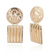 все цены на Simple color metal earrings female Exaggerated Metal Earrings For Women Round embossed geometric square tassel earrings онлайн