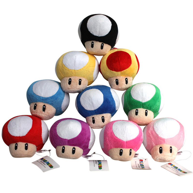 10Colors 7cm Super Mario Bros Toad Mushroom Plush Keychain Soft Stuffed Pendant Dolls