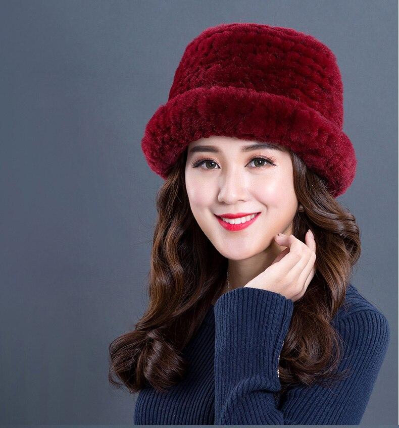 Luxury Natural Fur hats Fur Bucket Hat Russian Real Rex Rabbit Fur Hat Female Solid Women\`s Winter Cap Ladies (1)