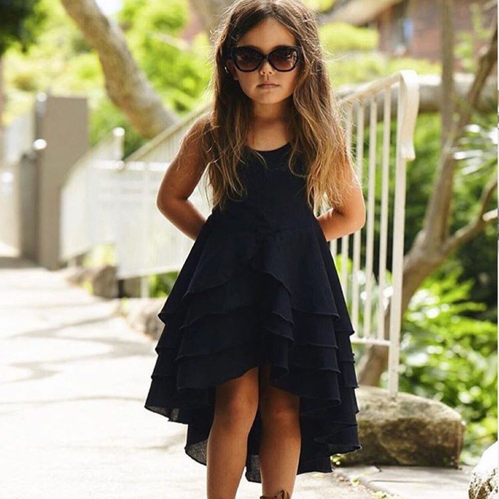 2 Colors Hot Cute Newborn Infant Baby Girl Solid Sleeveless Fold Dress Outfits Clothes High Quality Dropshipping AG30 23