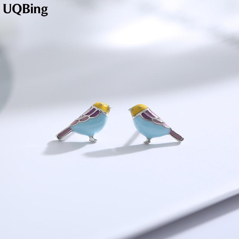 Drop Shipping 925 Sterling Silver Colored Bird Stud Earrings For Women Beautiful Jewelry