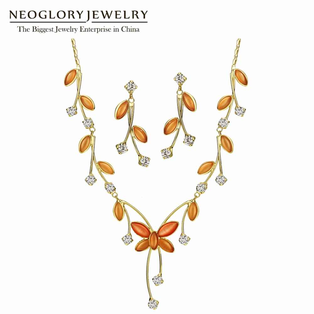 Neoglory Zircon Romantic Orange Flower Jewelry Sets Necklace Earrings Wedding Jewelry Sets For Women 2018 New Mother Gifts