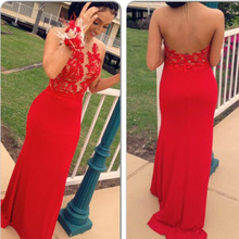 Off-Shoulder Red Lace Prom Dresses 2017 Romantic Scoop Sheer Formal Prom Gowns Arabic Sheath  African Prom Dress Women Celebrity
