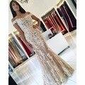 2017 Nuevo Rojo Del Cordón de La Sirena Vestidos de Baile Fuera del Hombro Con Cuentas Apliques de Lentejuelas Tul Largo Champagne Vestido de Noche Largo WH258