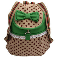 Girl's Lovely Sweet Bowknot Leisure Canvas Backpack for Student (Green)