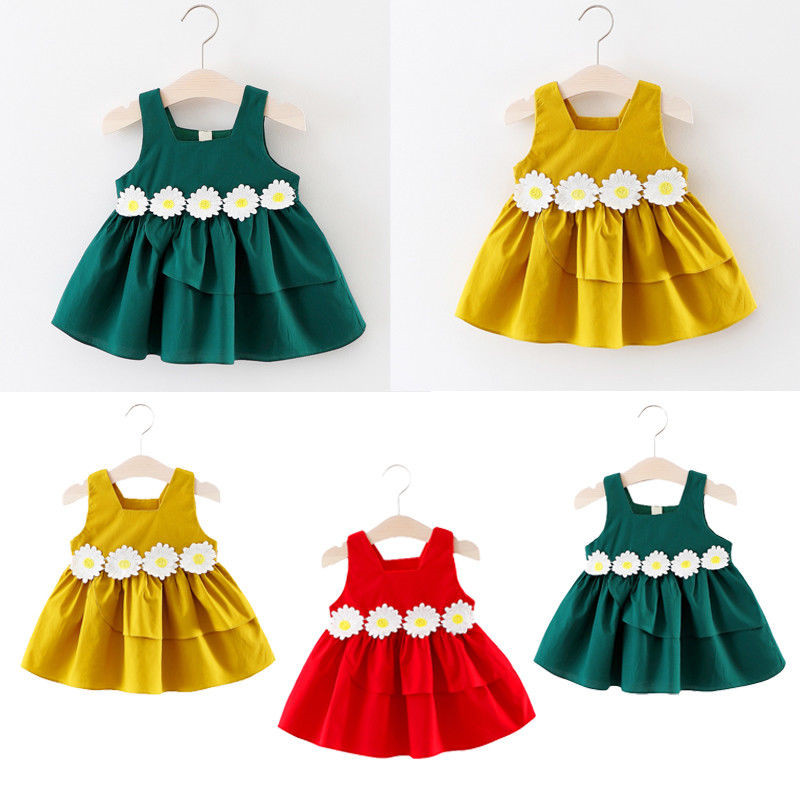 Pageant   Flower     Girl     Dress   Kids Birthday Wedding Bridesmaid Gown Formal   Dress   Baby   Dresses   Cotton O-neck Mini Sleeveless   Dress