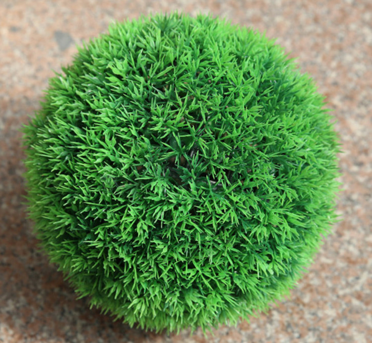Decorative Artificial Grass Ball Plastic Leaf Effect Hanging Green Grass Ball Decoration Artificial Topiary Ball in 5 Sizes