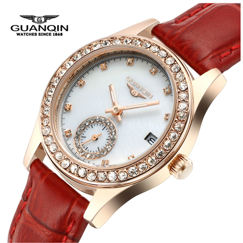 GUANQIN Quartz Watch Top Brand Woman Sapphire Luxury Brand Diamond Luminous Ladies Watch Waterproof Leather Watches Montre Femme все цены