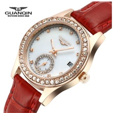 Top Brand Mujer Zafiro GUANQIN Reloj de Cuarzo Luminoso Señoras Reloj de Cuero Resistente Al Agua de Lujo Marca Diamond Relojes Montre Femme
