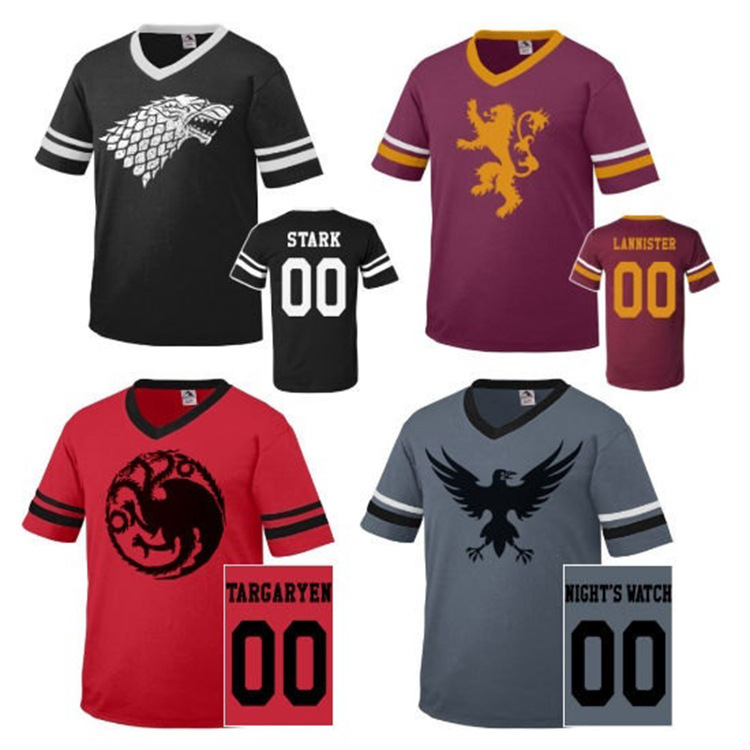 Game of Thrones ice and fire song T-shirt printing casual power game Eagle Lion Three Dragon Men T-shirt short sleeve cosplay
