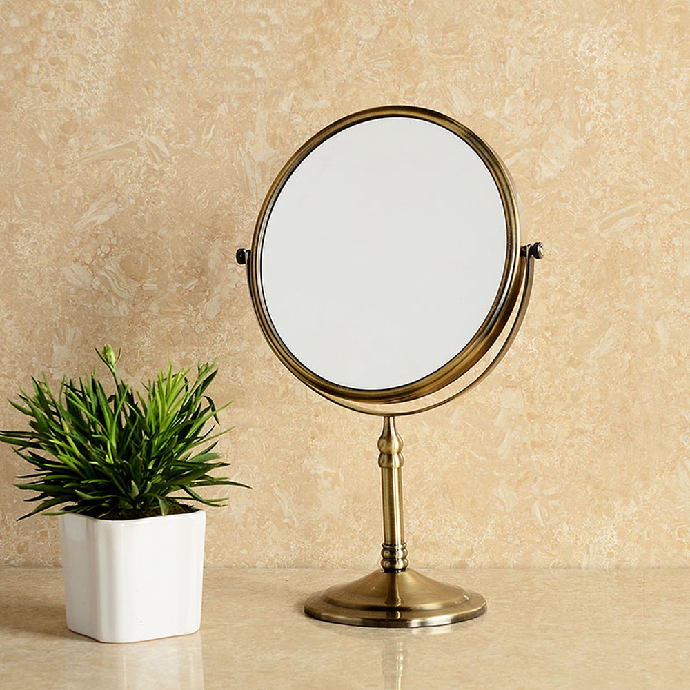Bathroom Makeup Mirror Desktop Double Mirror Retro Dressing Mirror Bronze Mirror European Princess Mirror LO74245
