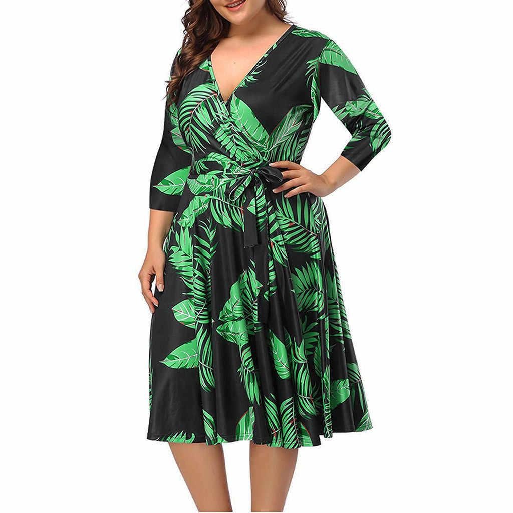 Plus tamanho vestido para as mulheres verão casual três quartos manga profunda decote em v tropical plant print bandagem rendas até vestidos maxi mulher