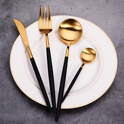 Best Hot Sale 4 Pcs/set Black Gold Dinnerware Set 304 Stainless Steel Western Cutlery Set Kitchen Food Tableware Dinner Set
