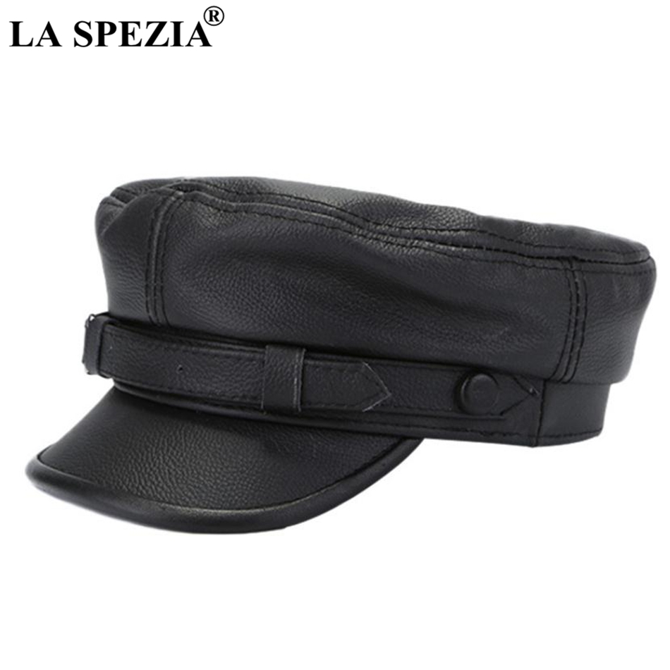 LA SPEZIA Brown Military Captains Hat Men Genuine Cow Leather Newsboy Cap Flat Women Autumn Winter Luxury Designer Sailor Caps in Men 39 s Military Hats from Apparel Accessories