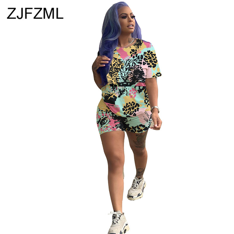 Animal Print Harajuku 2 Piece Matching Set Women Festival Clothes O Neck Short Sleeve T-Shirt+Biker Shorts Casual Two Piece Suit