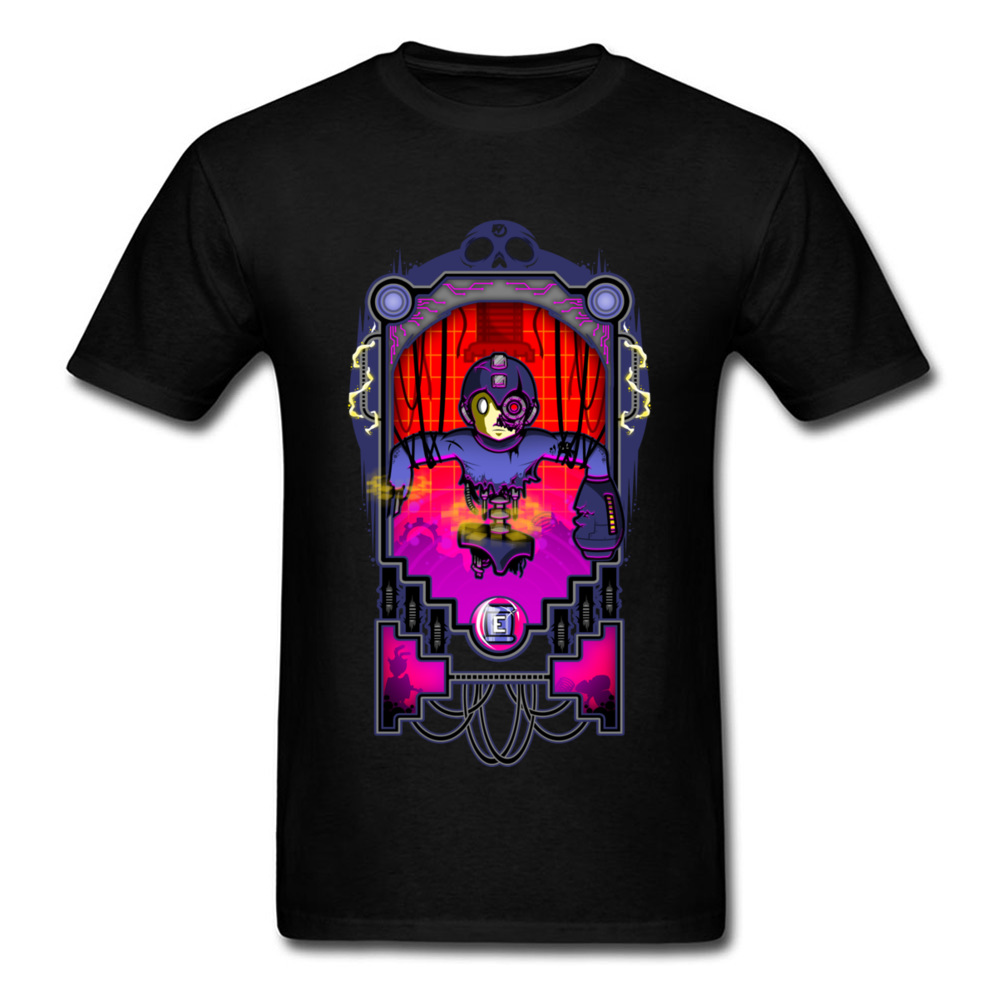 Mega Damage Fashion 2018 Gamer T-shirt Men Cool Black T Shirt Custom Cartoon Personality College Tops Robot Print