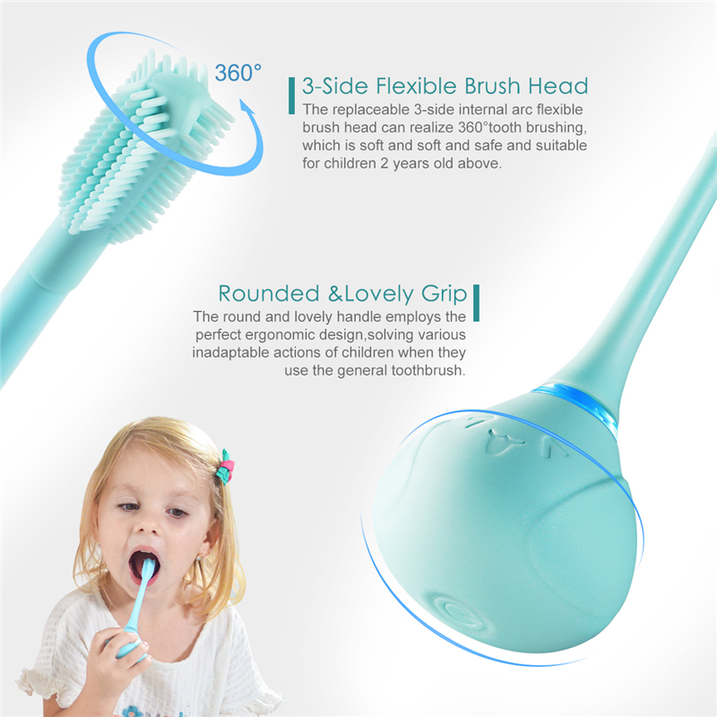 Electric Battery Operated Kid Toothbrush Electric Rotating Tooth Brush Brush Head Baby Cartoon Teeth Brush image